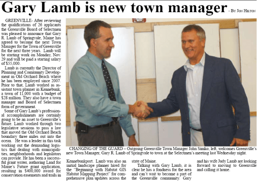 Article by Jon Hilton On New Greenville Town Manager