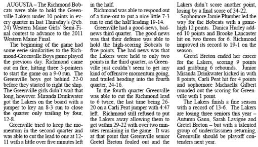 Article by Jon Hilton On Greenville Girls Basketball