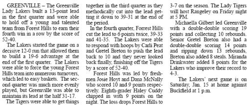 Greenville Girls Basketball vs Forest Hills