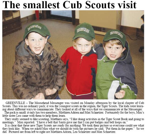 Cub Scouts visit Moosehead Messenger
