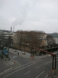 The view out my Berlin hotel room window. It was a corner room, so I got an extra-good view.