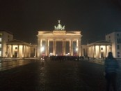 A wide view of the East facade of the Brandenburg Gate. East of the Gate is a large open area. Especially at night, it's a wonderful place for people-watching and contemplation.