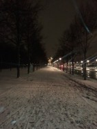 This road connects Postdamer Platz to the Brandenburg Gate. This was taken during a Saturday night at around 8 p.m.; there were few cars or pedestrians around, so it was relatively quiet. I crunched through the snow, watched, and listened; it was wonderful.