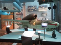 The Technikmuseum's Heinkel He 162, the fastest of the first generation of military jets. Because metal was in short supply, it was made primarily of wood.