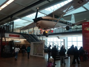 The Technikmuseum's foyer. The airplane is the Cessna 172 that landed in Moscow's Red Square in 1987.