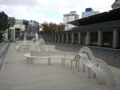 My first cultural stop in New Zealand was the Auckland Art Gallery. This is its sculpture terrace; it's art you can rest on. :)