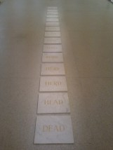 Another interesting sculpture at the Auckland Art Gallery. The word in each successive tile is formed by changing one letter of the word in the previous tile.