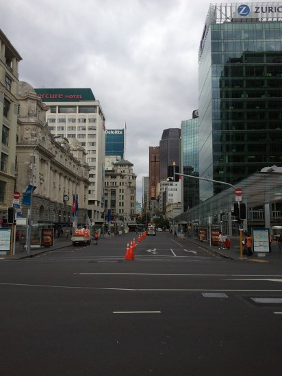 This is downtown Auckland, from the waterfront. A triathlon was just finishing up when I got there; the cones marked the bike path.