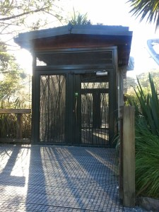 A complete view of one of Auckland Zoo's aviary airlocks. What an interesting idea!