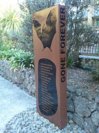 A closeup of one of the Auckland Zoo's extinct species markers. I'm sure it's no accident they resemble gravestones.