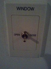 The aforementioned window control knob. I loved the idea of a motorized hotel window. :)