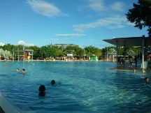 The Cairns Esplanade Lagoon, a wide, shallow, public pool just west of the city's marina.