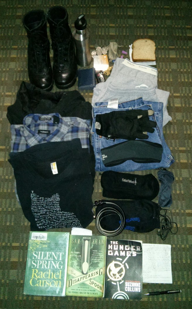 Everything I brought with me to Times Square, and either wore or held while there. Stylin'!