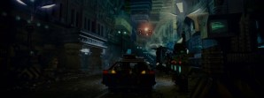 Street scene from Blade Runner showing a 'spinner'