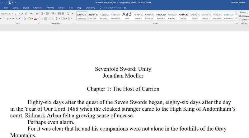 SEVENFOLD SWORD: UNITY progress – Jonathan Moeller, Pulp Writer