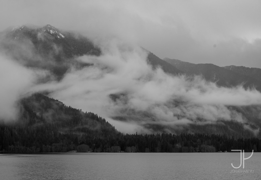 Clouds blow out from the mountains during a brief break in the storm