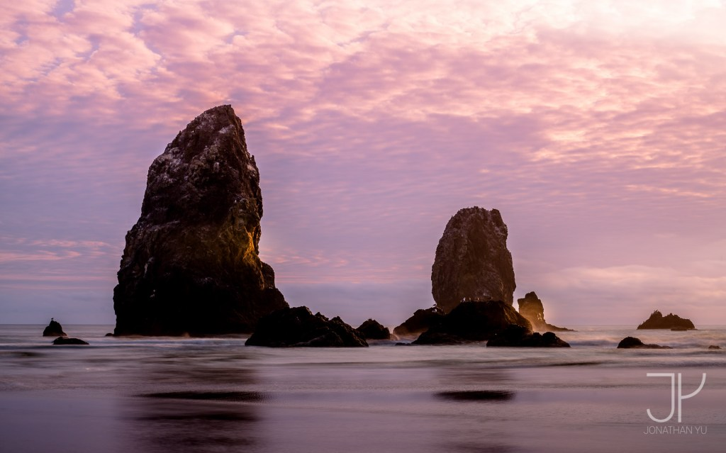 Colorful sunset at Cannon Beach, late summer