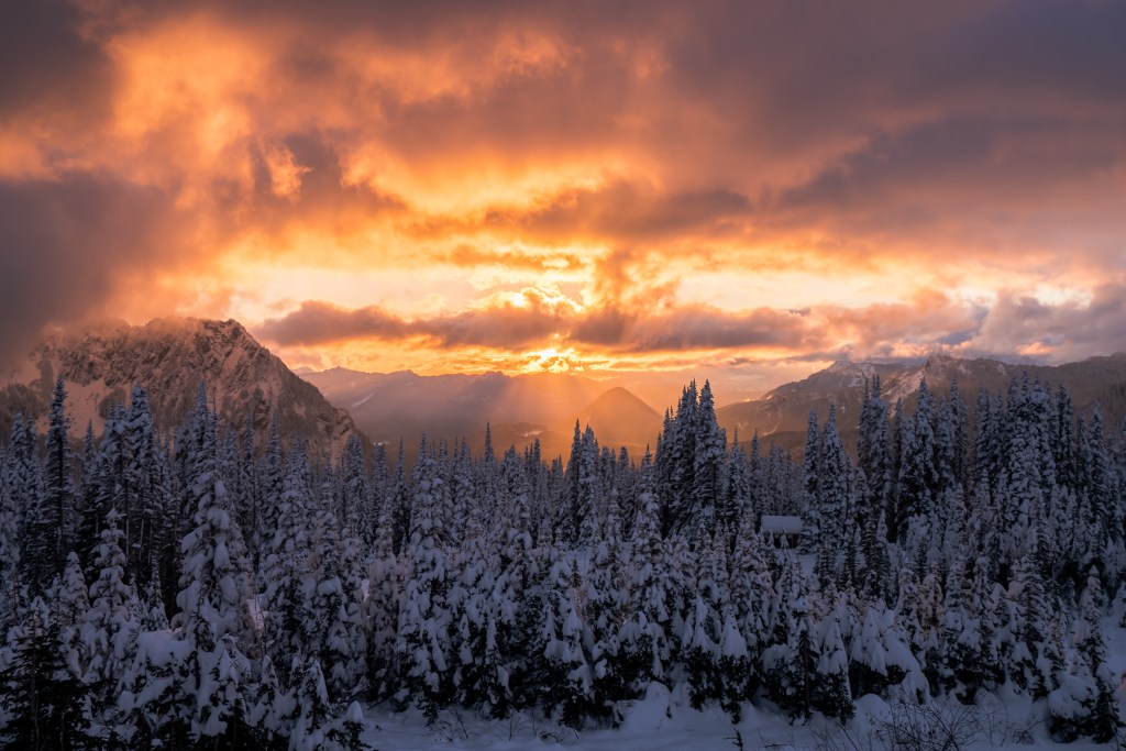 Winter sunset from Paradise visitor center area at Mt. Rainier National Park