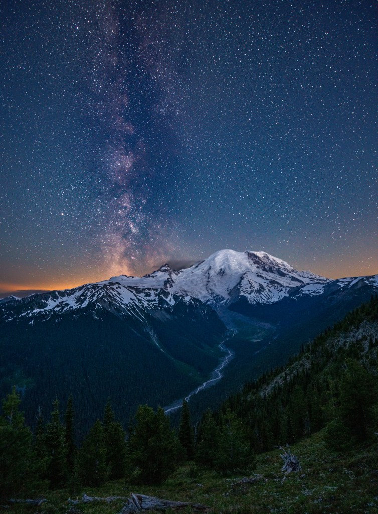 Milky Way from the sunrise visitor center area of Mount Rainier National Park