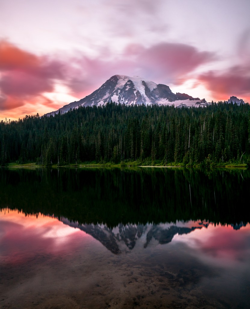 Reflection Lake Sunset at Mount Rainier National Park