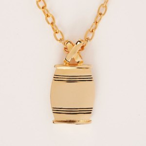 "Asa Medium Barrel Necklace ""X"" Vertical In Gold Or Silver"