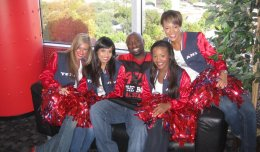 Houston radio icon J Mac celebrates Houston's being named the nation's coolest city to live in with a group of Houston Texans cheerleaders.