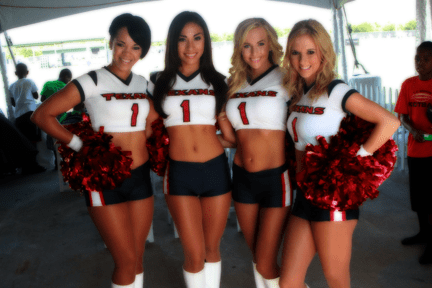The Houston Texans cheerleaders show their team spirit at Texans training camp Tuesday morning.
