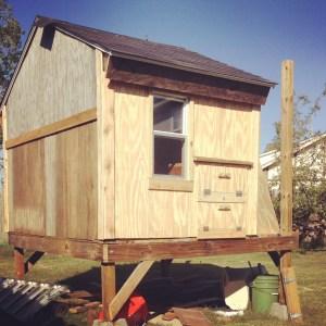 A chicken coop in progress