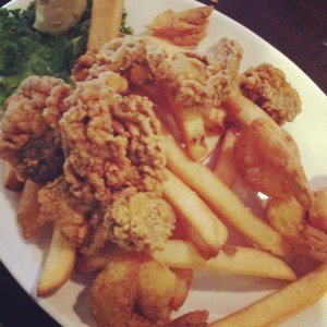 Fried oyster and shrimp in Louisiana