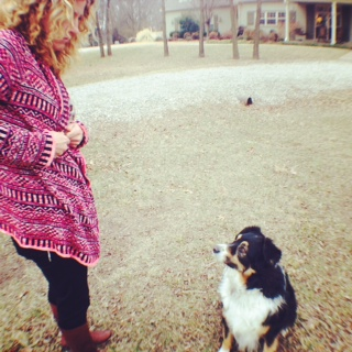 A woman and her Australian Shepherd