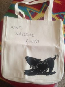 Custom dog themed tote bag with the Jones mascot! *squeee*