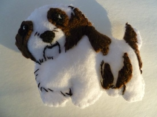 Modeled after her own little Shih Tzu, this Christmas ornament is reasonably priced.