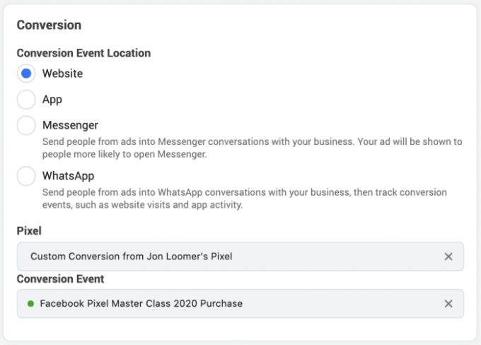 Facebook Conversion Event
