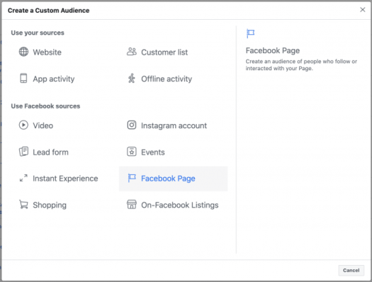 Facebook Page Engagement Custom Audience