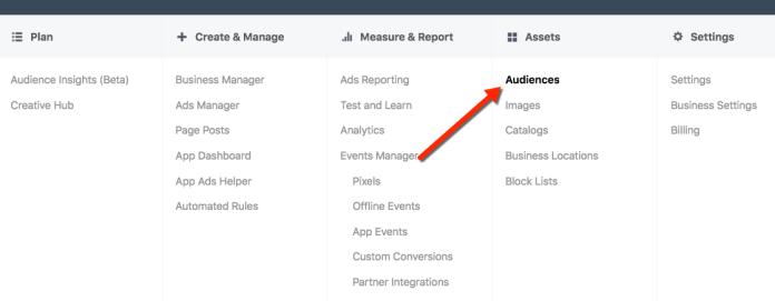 Facebook Ads Manager - Audiences Tool