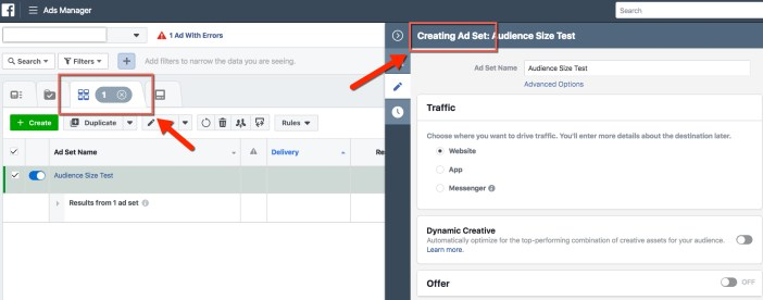 Ads Manager - Ad Set View