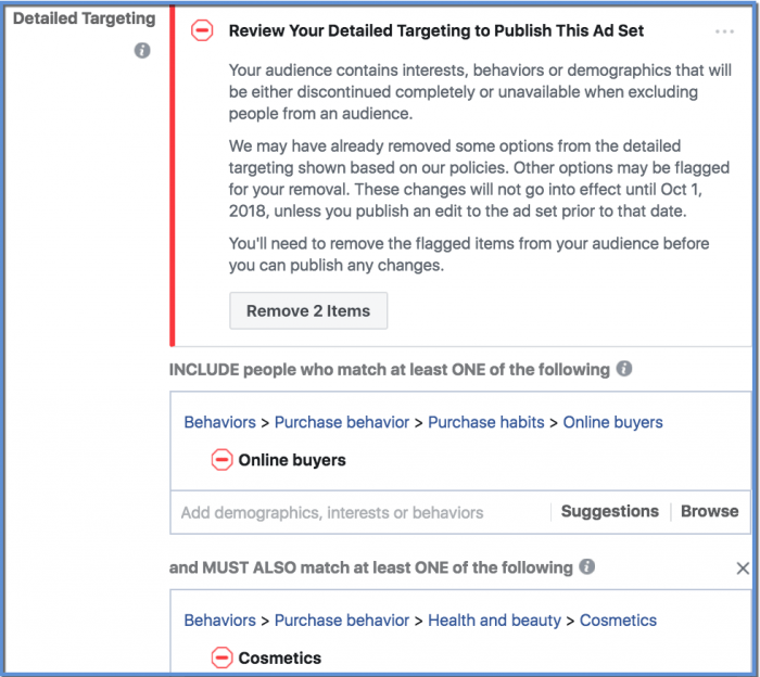 Facebook Removal of Partner Category Targeting Warning Message