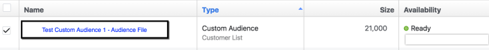 Facebook Custom Audience - Size appears in Audience list