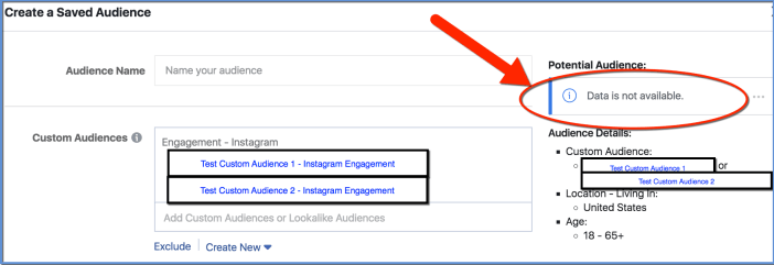 Facebook Custom Audiences Combined for Saved Audience - size not available