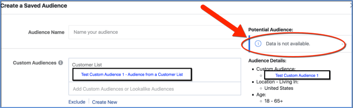 Facebook Custom Audience - used as base for Saved Audience - Size not available