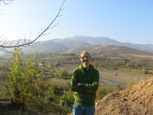 Jonny Blair - Business Backpacker crossing the border from Georgia into Armenia in 2013