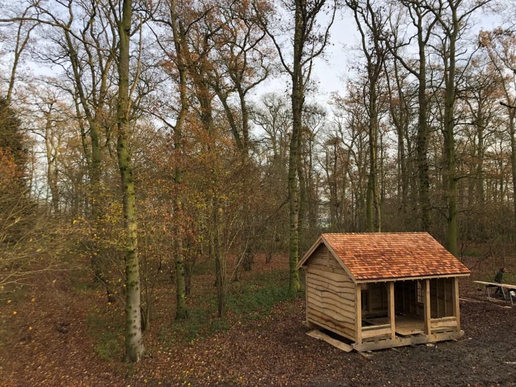 Oak framed woodland cabin or shed.