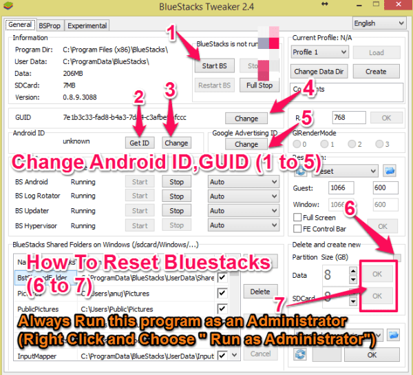 bluestacks tweaker reset and change id