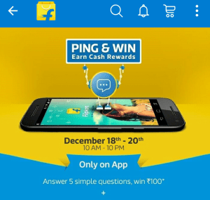 flipkart ping and win