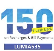 Microsoft lumia 535 cashback on recharge through Paytm app