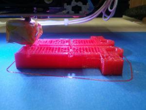 DIY 3D Printer OB 1.4 Z-Supports Print in Progress PLA no heat bed