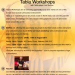 Flyer - Tabla workshops in Swindon August 2017