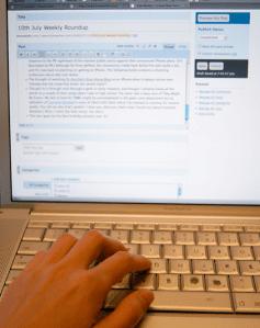 a person blogging