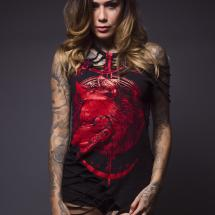 Fashion model Erika Young in a Junker Designs tshirt cut by Peepshow Clothing
