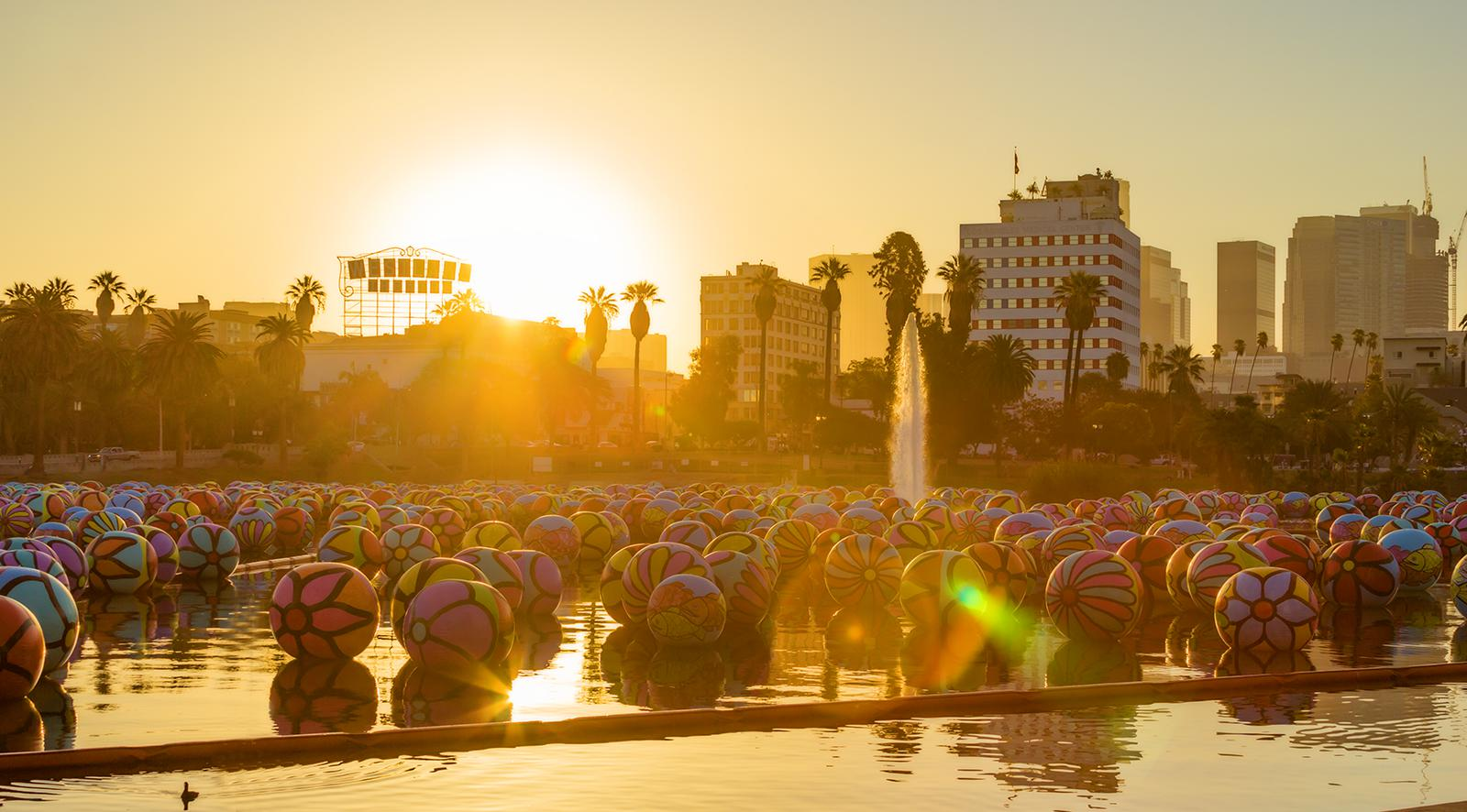 Colorful floating balls in art Installation at MacArthur Park in Los Angeles